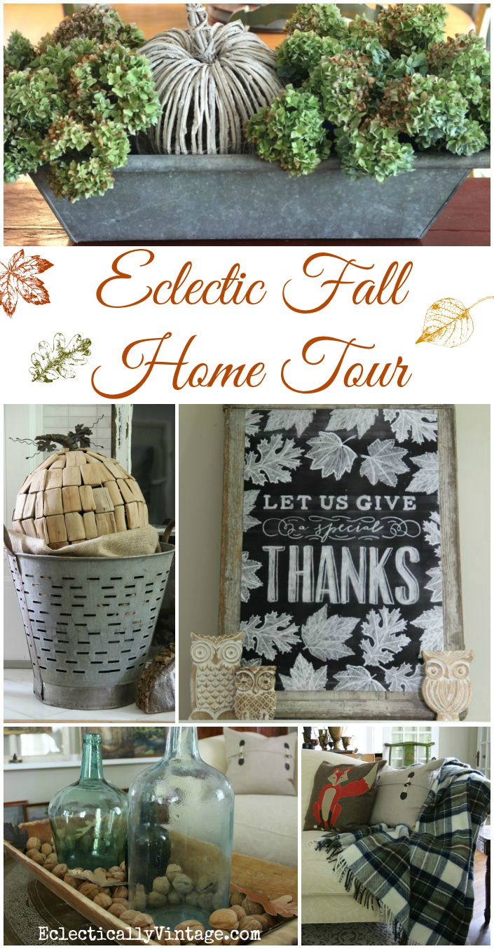 Eclectic Fall Home Tour - WOW! This home is filled with such creative decorating ideas kellyelko.com #fall #falldecor #falldecorating #fallmantel #fallhome