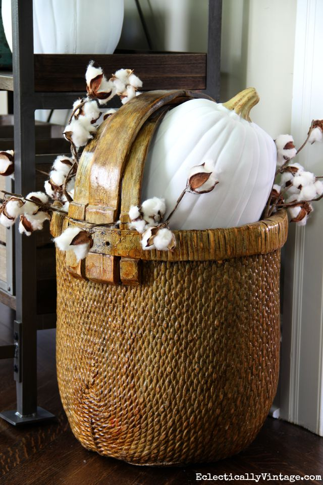 Fall basket filled with cotton a white pumpkin kellyelko.com