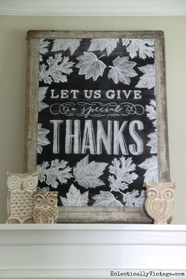 Fall Chalkboard Printable - what a beautiful mantel! kellyelko.com