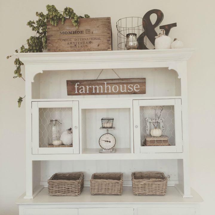 Eclectically fall farmhouse fall decor for Farmhouse style kitchen hutch