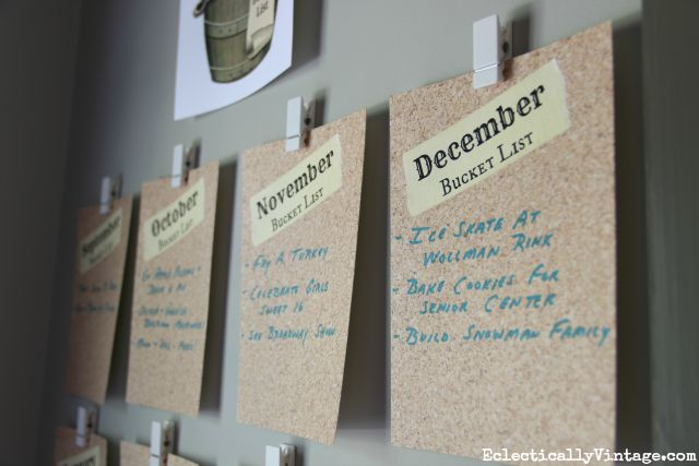 Free Bucket List Printable - fun idea to post on the wall with a years worth of fun family activities! kellyelko.com
