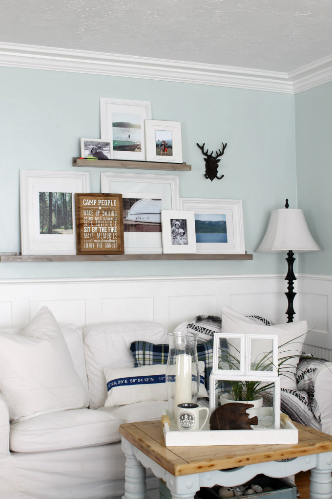 Gallery wall on picture ledges - easy to change things around