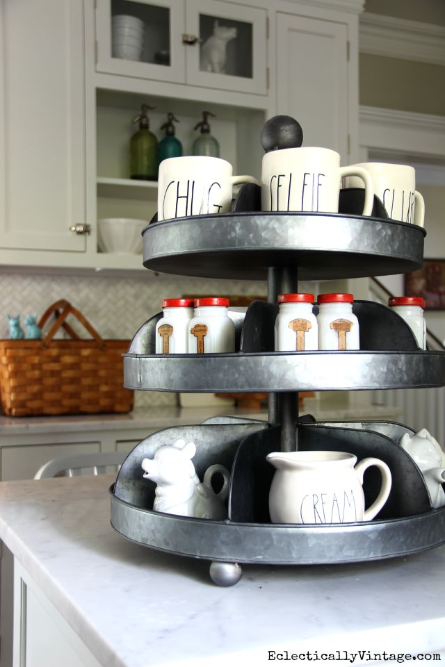 Industrial tiered tray in the kitchen - perfect for showing off favorite things kellyelko.com