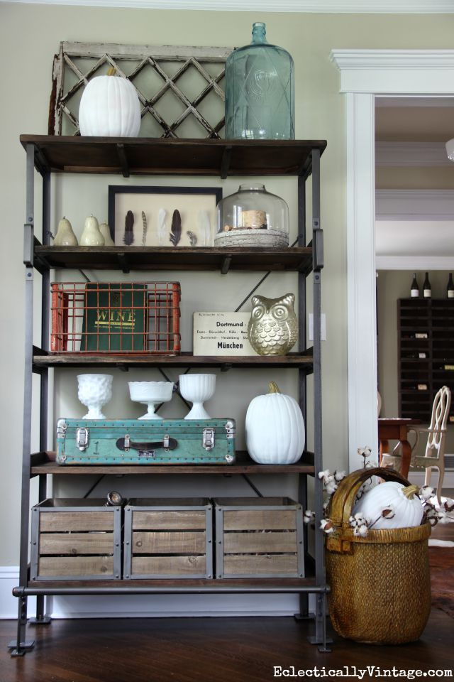 Love the beautiful styling on this industrial shelving kellyelko.com
