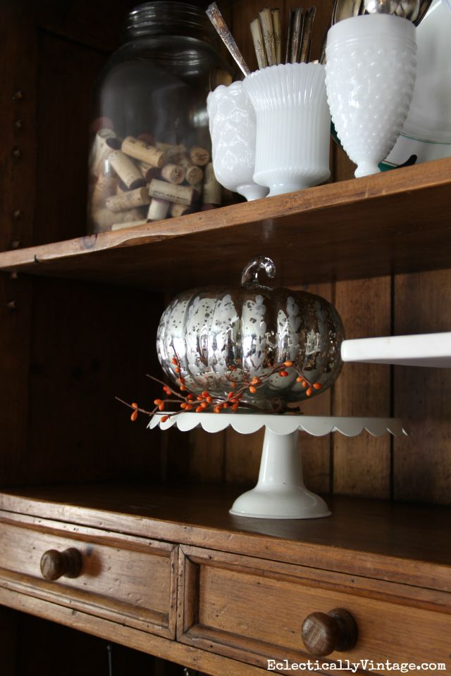 Mercury Glass Pumpkin Looks Cute In A Dining Room Hutch Kellyelko