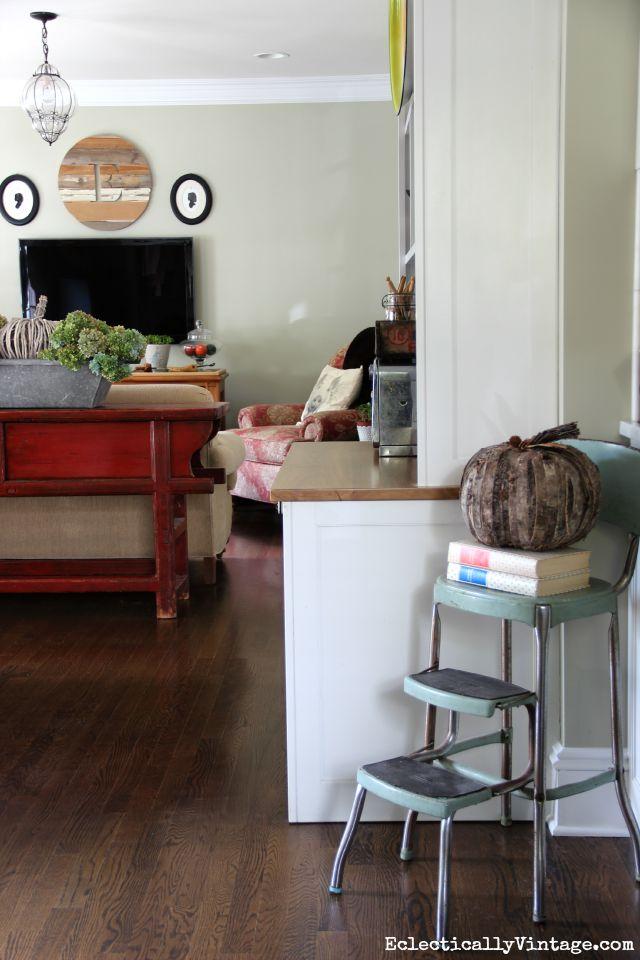 Love the vintage blue step stool kellyelko.com