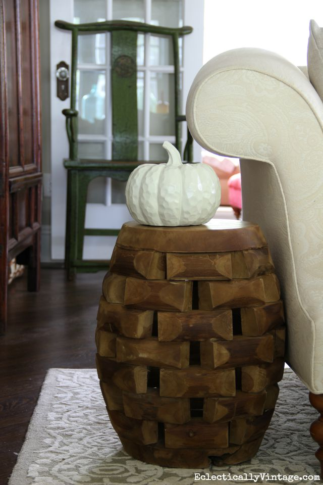 Wood Garden Stool Side Table