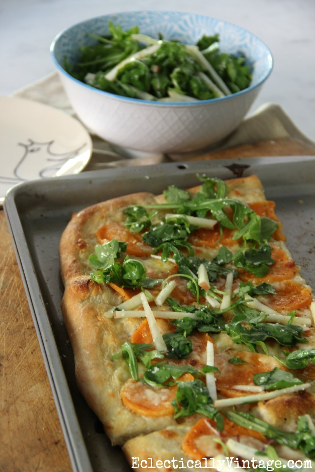 Sweet potato and arugula pizza - celeriac root and apples add the perfect crunch kellyelko.com