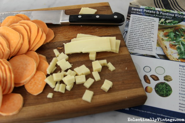 Sweet potatoes and fontina cheese ingredients for pizza kellyelko.com