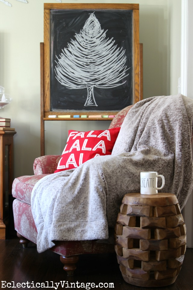 Chalkboard Christmas tree and a cozy chair kellyelko.com