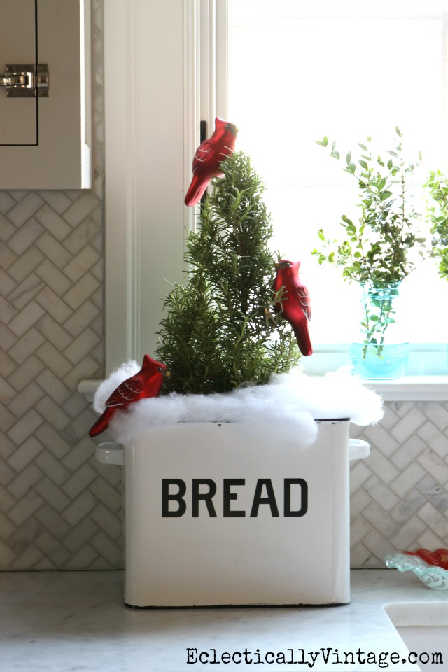 Christmas tree in a bread box kellyelko.com