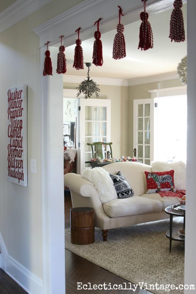 DIY yarn tassel garland kellyelko.com