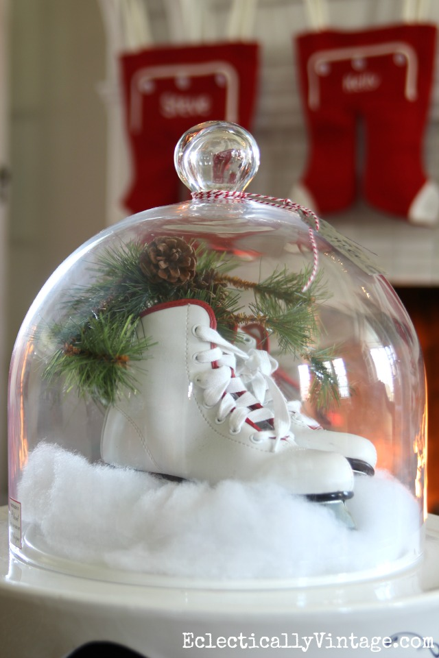 Ice skates under a cloche - fun Christmas decor kellyelko.com