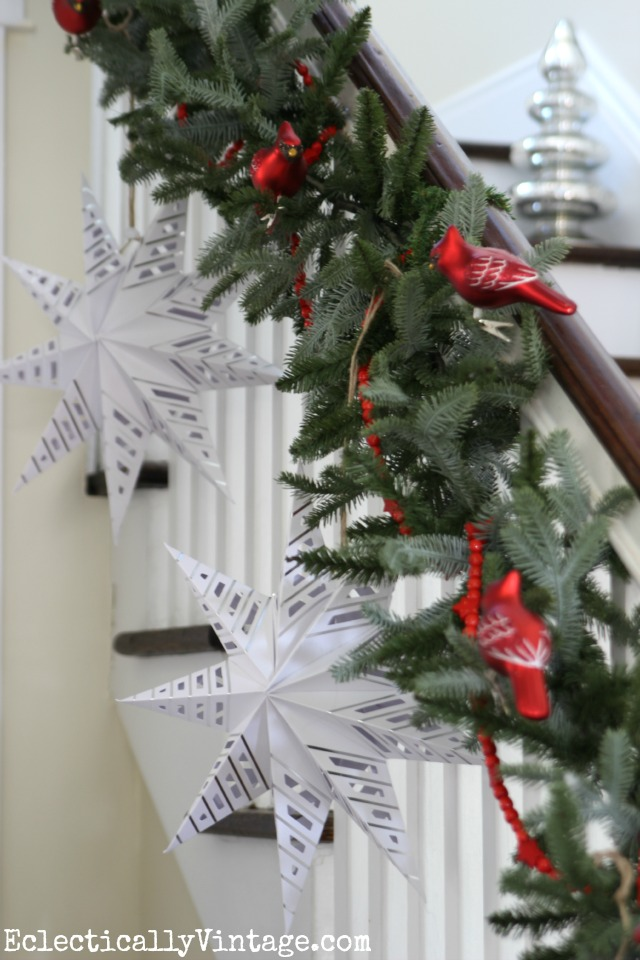 Snowflake garland bannister for Christmas kellyelko.com