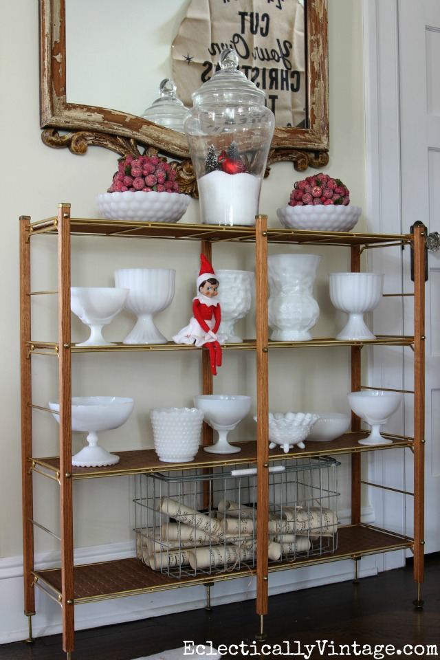 Vintage milk glass collection with touches of red for Christmas kellyelko.com