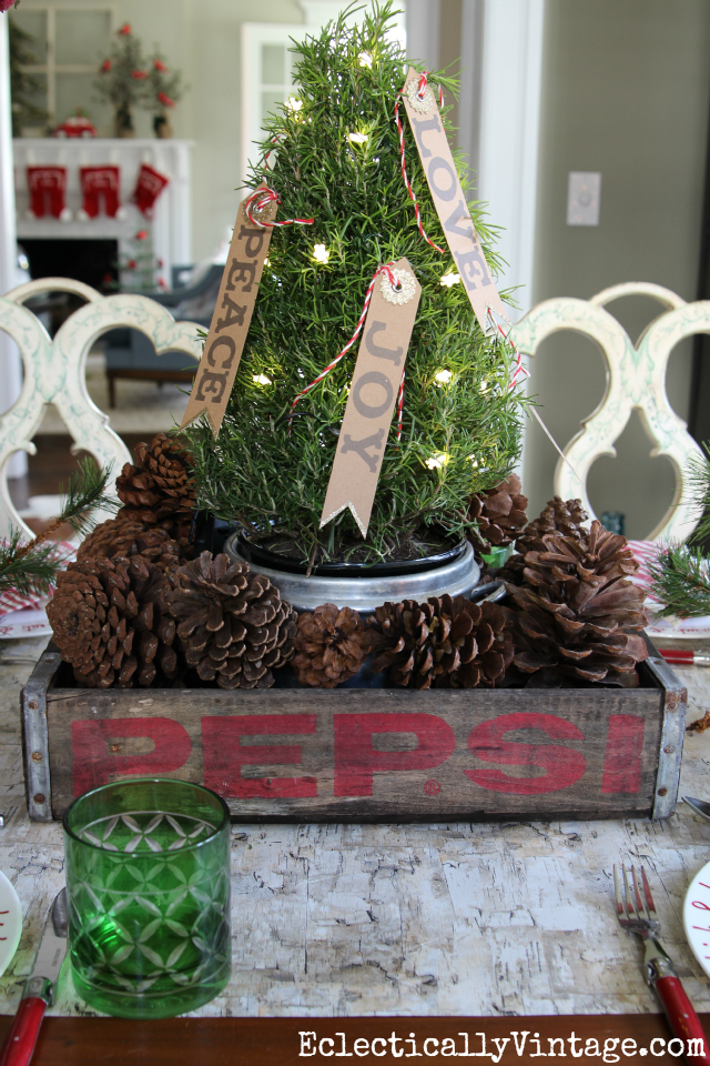 Vintage wood soda crate Christmas tree centerpiece kellyelko.com