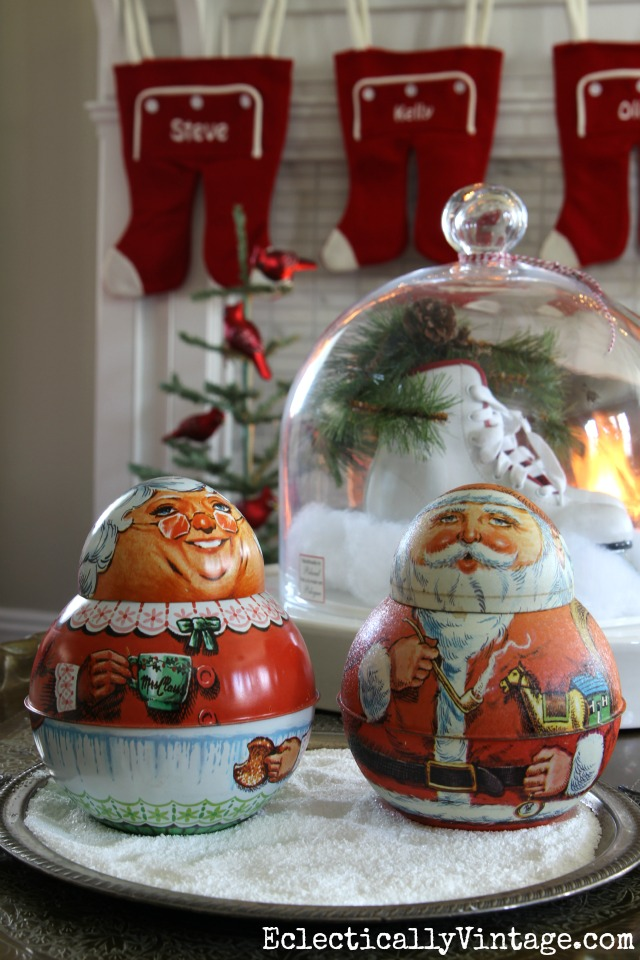 Vintage Santa & Mrs. Claus tobacco tins kellyelko.com