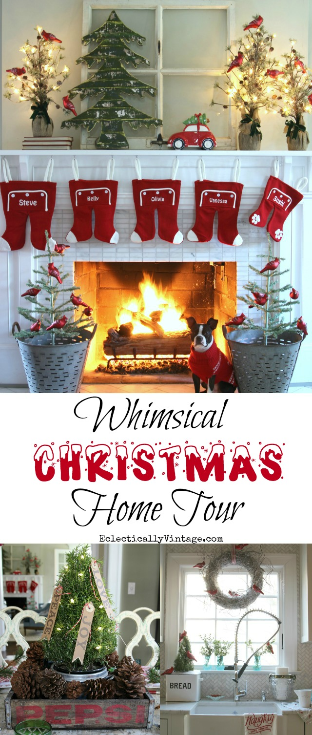 Whimsical Christmas Home Tour - tons of super fun, creative decorating and DIY ideas! kellyelko.com