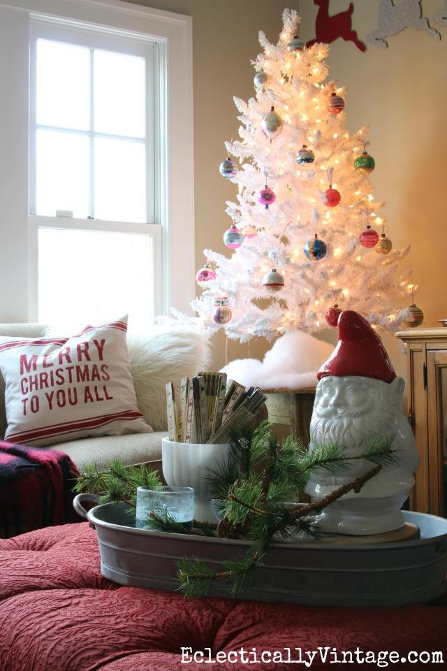 white christmas tree with vintage shiny brite ornaments kellyelkocom - Simplify Christmas Decorating