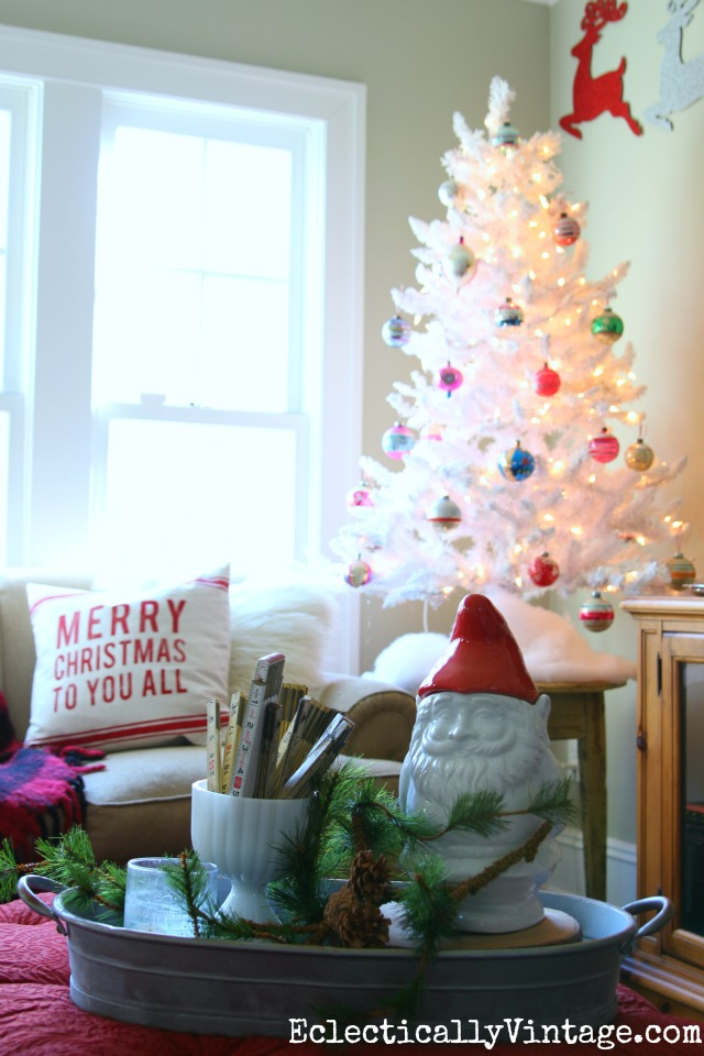 Festive white Christmas tree with vintage ornaments kellyelko.com