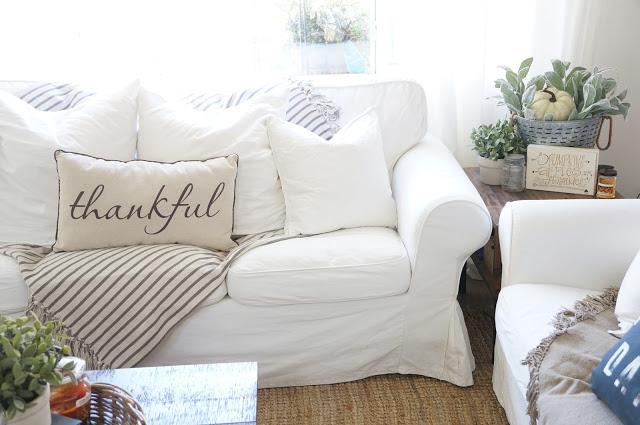 White slipcovered sofas are so cozy kellyelko.com