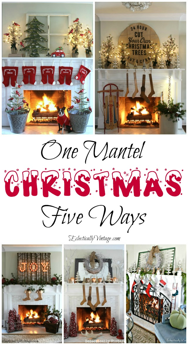 Christmas Mantel Ideas kellyelko.com