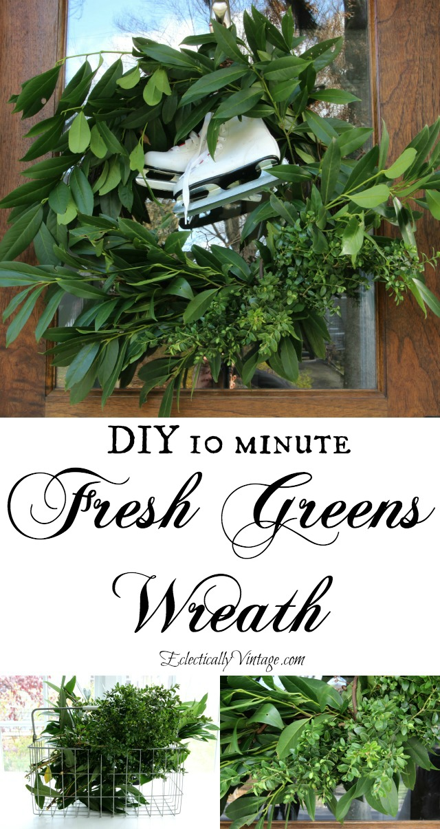 DIY Fresh Greens Wreath - the easiest way to make one with clippings from your yard! kellyelko.com