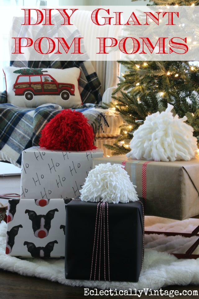 DIY Giant Pom Poms Tutorial - such a fun idea to use as gift toppers! kellyelko.com