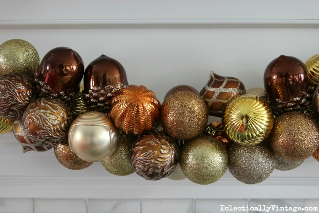 How to make an ornament garland - love this mix of metallic ornaments kellyelko.com