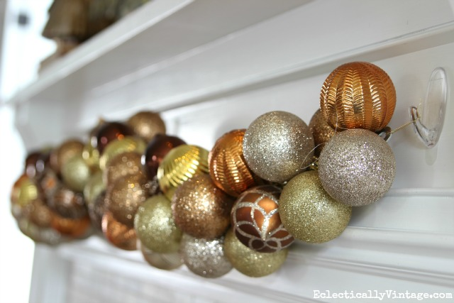DIY metallic ornament garland kellyelko.com