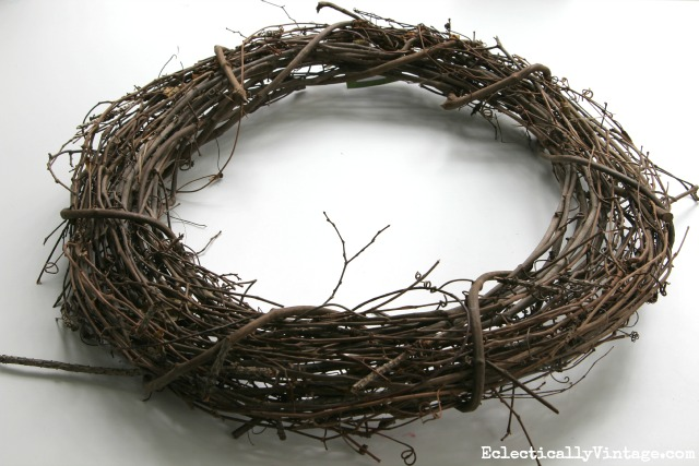 Grapevine wreath form - see the after fresh greens wreath kellyelko.com