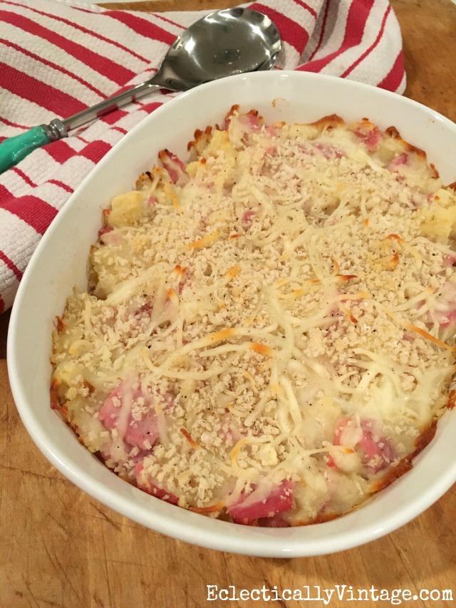 Cheesy Ham & Potato Casserole kellyelko.com