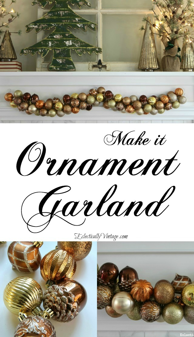 How to make ornament garland kellyelko.com #christmas #christmasdecor #christmasdecorating #christmascrafts #ornaments #christmasornaments #christmasmantel