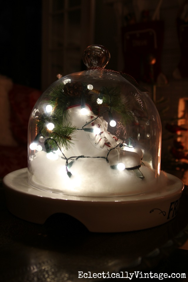 Ice skates under a cloche get festive Christmas lights for a fun glow kellyelko.com