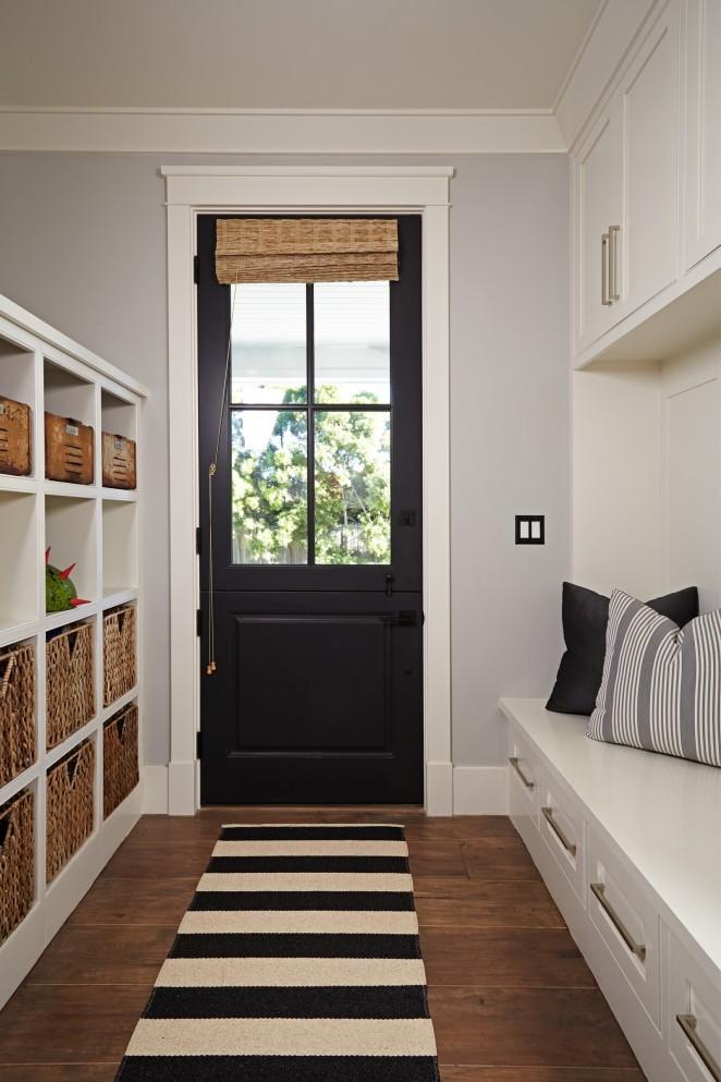 Black and white mudroom - love the black dutch door kellyelko.com