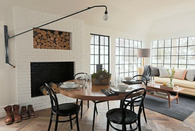 A fun alternative to a chandelier and love the bentwood chairs and French herringbone floors kellyelko.com
