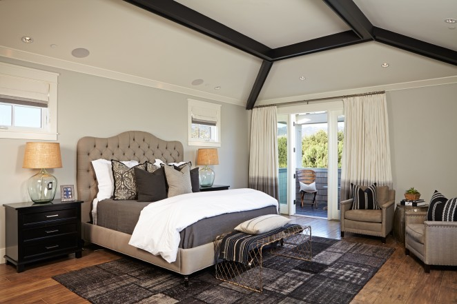 Neutral bedroom - love the tufted headboard and the glass demijohn lamps kellyelko.com