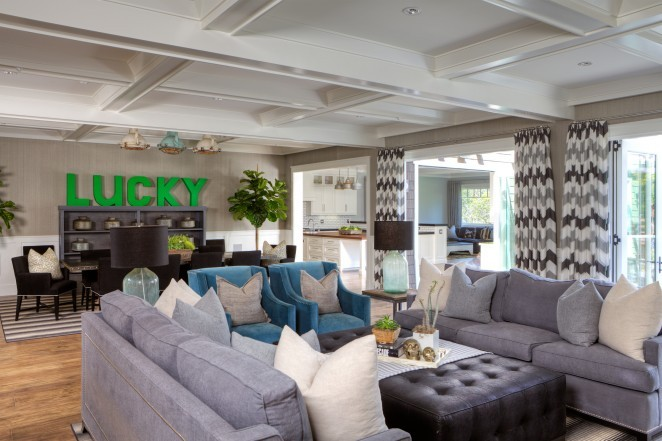 Love the color palette of this beautiful home - grays, black and blues with a pop of green kellyelko.com