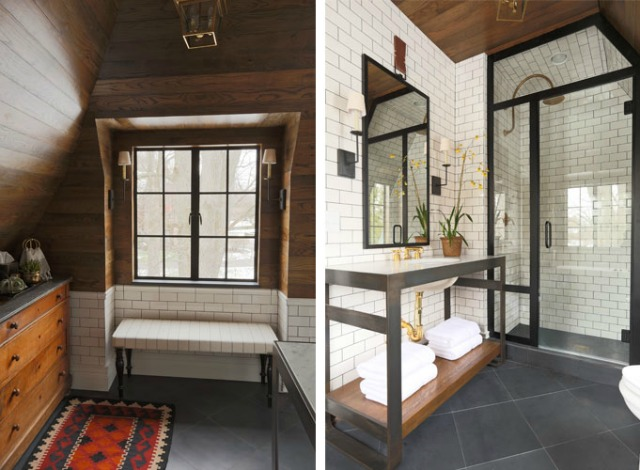 Industrial vintage bathroom with subway tiles with dark grout kellyelko.com