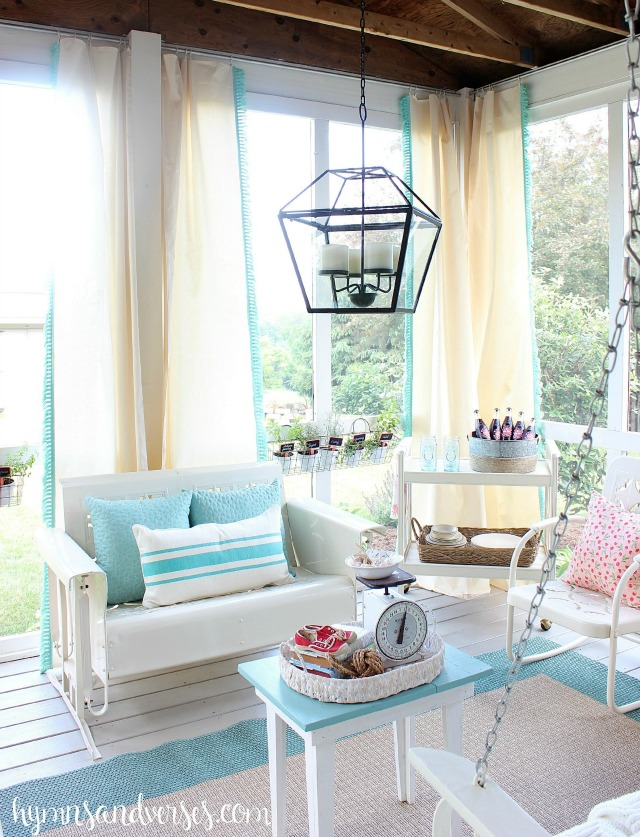 Love this screened in porch and the vintage glider and porch swing kellyelko.com