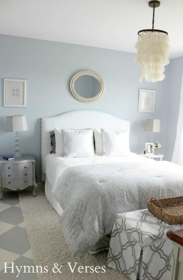 Beautiful blue bedroom - love the DIY upholstered headboard and capiz chandelier kellyelko.com