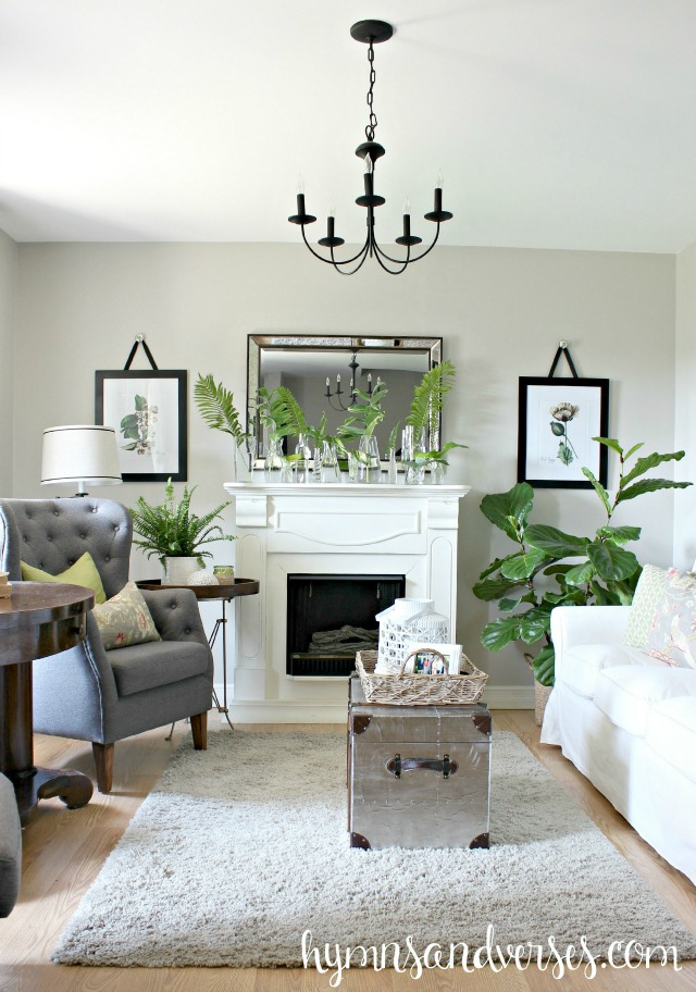 Eclectic Home Tour of Hymns and Verses - love this cozy living room kellyelko.com