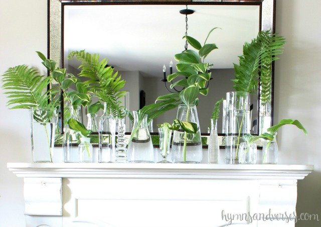 Summer mantel - fill a collection of vases with greens from the garden kellyelko.com