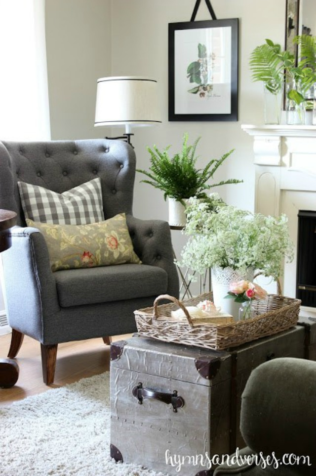 Cozy living room with gray tufted chairs kellyelko.com