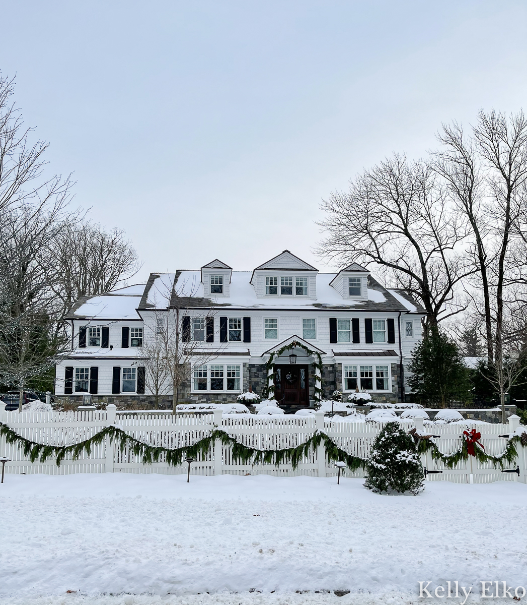 Beautiful old white house covered in snow kellyelko.com