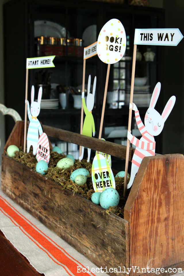 Spring toolbox centerpiece - love the paper Easter bunnies and eggs nestled in a bed of moss kellyelko.com
