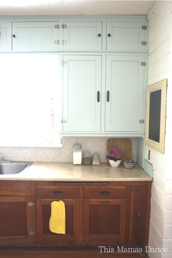 Original cabinets get a facelift with a coat of blue paint kellyelko.com