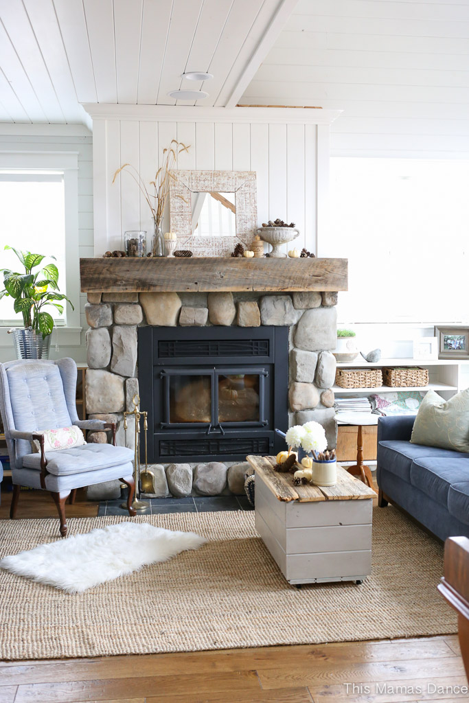 Eclectic Farmhouse Tour - a 1940's cottage of This Mamas Dance gets a DIY addition. Love the stone fireplace kellyelko.com