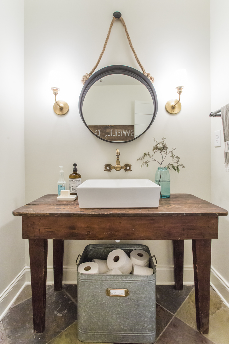Vessel sink with a rustic wood farmhouse table - love the unpolished brass faucet kellyelko.com