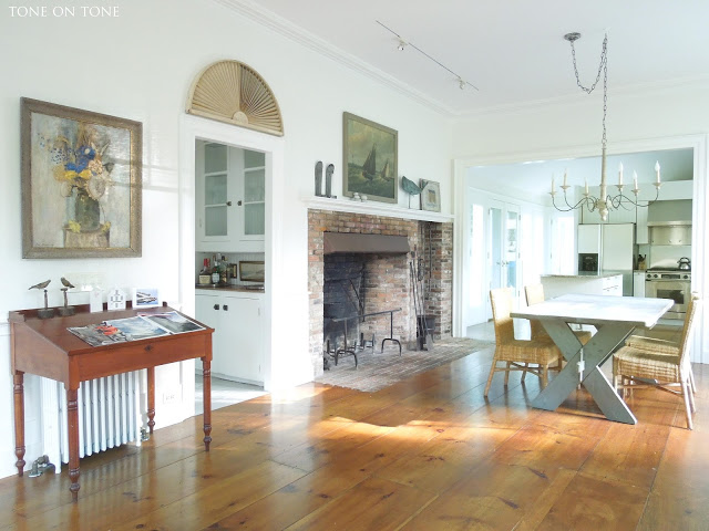 Antique pine floors steal the show in this historic dining room kellyelko.com